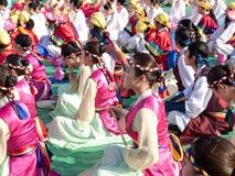 Буддийское ралли приветственного восклицания, Сеул, Корея Стоковое Изображение RF