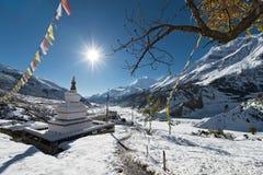 Буддийское Stupa в зоне Annapurna, Непале Стоковая Фотография RF