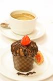Булочка и кофе шоколада Стоковая Фотография RF