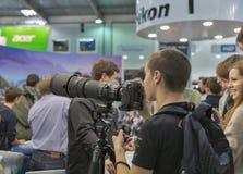 Будочка компании Nikon на CEE 2015, самая большая торговля s электроники Стоковое Изображение