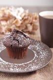 Булочка шоколада с чашкой чаю Стоковое Фото
