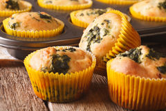 Булочки закуски с концом-вверх сыра шпината и фета горизонтально стоковая фотография