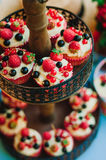 Булочки с сливк и ягодами лежат на двухуровневой стойке в зоне банкета свадьбы Стоковая Фотография RF