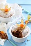 Булочки шоколада в керамических формах взбрызнутых с напудренным сахаром Стоковые Изображения RF