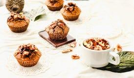 Булочки шоколада с частями темных шоколада и грецкого ореха Стоковые Фото