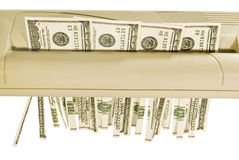 100 будучи shredded долларовых банкнот Стоковое Изображение