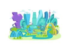 Будущее города Необыкновенный нештатный ландшафт архитектуры иллюстрация штока