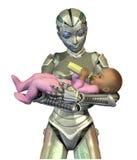 будущее ребенка внимательности robonanny Стоковое Изображение