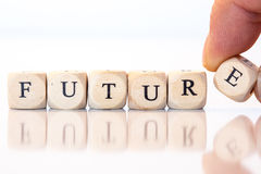 Будущее, сказанное по буквам с письмами кости Стоковая Фотография