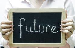 Будущее слово написанное на классн классном/chalckboard Стоковые Фото