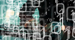 Будущее технологии, футуристической предпосылки безопасностью кибер Стоковое Изображение