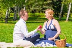 Будущий отец дает его беременной жене отдыхать яблока стоковая фотография rf