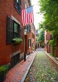 Булыжник Бостон холма маяка улицы жолудя стоковая фотография