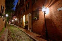 Булыжник Бостон холма маяка улицы жолудя Стоковое фото RF