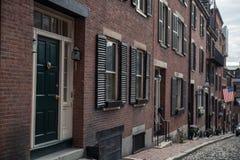булыжник известный massachusetts boston жолудя большая часть улицы одной улицы стоковое изображение rf