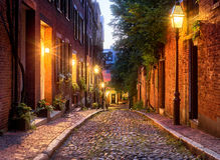 булыжник известный massachusetts boston жолудя большая часть улицы одной улицы стоковые изображения rf