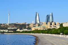 Бульвар взморья в Баку Стоковое Фото