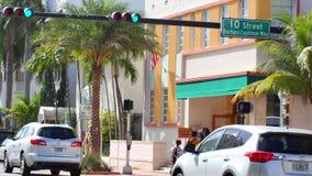 Бульвар Miami Beach Collins акции видеоматериалы