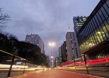 Бульвар Paulista в Сан-Паулу, Бразилии Стоковые Фотографии RF