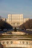 Бульвар Unirii водя к парламенту, Бухаресту Стоковое Изображение RF