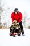 Будьте матерью и ее маленький сын наслаждаясь ездой розвальней в снежном парке стоковые фотографии rf
