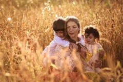 Будьте матерью обнимать ее сына и дочери в пшеничном поле Стоковое Фото