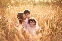 Будьте матерью обнимать ее сына и дочери в пшеничном поле Стоковая Фотография RF