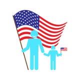 Будьте отцом с младенцем на предпосылке американского флага Стоковые Изображения RF