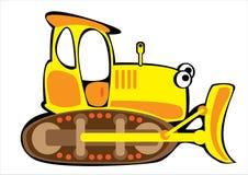 Бульдозер шаржа желтый изолированный на белизне Стоковая Фотография RF