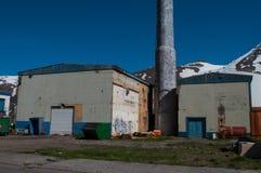 Бывшая фабрика сельдей в городке Siglufjordur в Исландии Стоковое Изображение RF