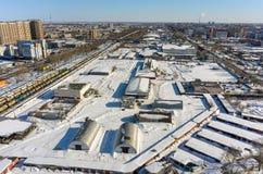 Бывший завод и жилые районы переработки мяса Стоковые Изображения
