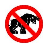 Бык стопа Буйвол запрета Красная запрещающая опасность дорожного знака иллюстрация штока
