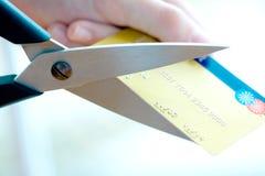 был большими ножницами пар отрезока кредита карточки Стоковые Изображения