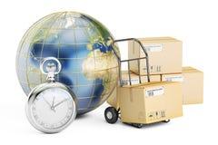 Быстрая концепция доставки и поставки по всему миру, renderin 3D иллюстрация штока