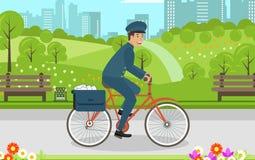 Быстрая корреспонденция доставки велосипеда в городе иллюстрация вектора