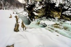 Быстрое река зимы стоковая фотография rf