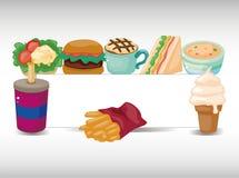 быстро-приготовленное питание шаржа карточки иллюстрация штока