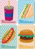 быстро-приготовленное питание шаржа карточки бесплатная иллюстрация