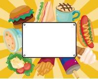 быстро-приготовленное питание шаржа карточки иллюстрация вектора
