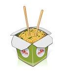 Быстро-приготовленное питание Китайские лапши внутри принимают вне контейнер бесплатная иллюстрация