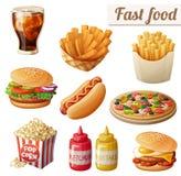 Быстро-приготовленное питание Комплект значков еды вектора шаржа изолированных на белой предпосылке иллюстрация штока