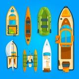 Быстро пройдите моторная лодка, корабль моря, яхта и другой морской переход Изображения вектора установили взгляд сверху иллюстрация вектора