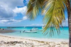 Быстро пройдите шлюпки в ясном океане на предпосылке пальм и красивых облаков Стоковая Фотография RF