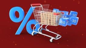 Быстрые доставка и покупки на концепции скидки, переводе 3d Стоковые Фото