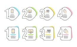 Быстрые подсказки, сообщение и онлайн видео- набор значков Знак таймера Полезные фокусы, посыльный телефона, видео- экзамен векто бесплатная иллюстрация