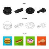 Быстрый, еда, еда, и другой значок сети в стиле шаржа Гамбургер, плюшка, мука, значки в собрании комплекта иллюстрация вектора
