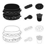 Быстрый, еда, еда, и другой значок сети в черноте, стиле плана Гамбургер, плюшка, мука, значки в собрании комплекта бесплатная иллюстрация