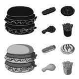 Быстрый, еда, еда, и другой значок сети в черноте, стиле monochrom Гамбургер, плюшка, мука, значки в собрании комплекта иллюстрация штока