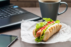 быстрый обед горячей сосиски Стоковые Фотографии RF