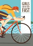 Быстрый плакат велосипедиста гонок женщины Стоковая Фотография RF